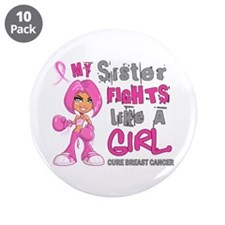 """Fights Like a Girl 42.9 Breast Cancer 3.5"""" Button"""