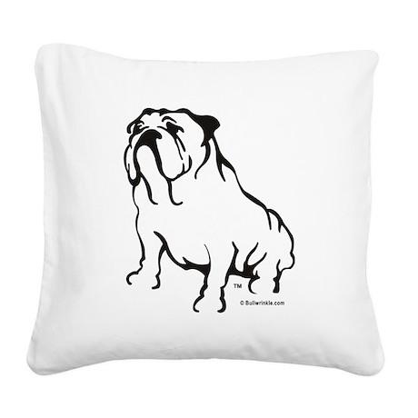Bulldog Logo Black Square Canvas Pillow