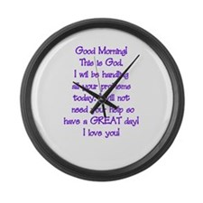 Good Morning from God Large Wall Clock
