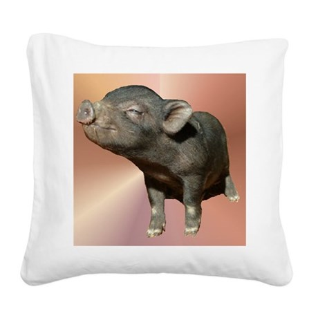"""Pot Belly Pig #1"" Square Canvas Pillow"