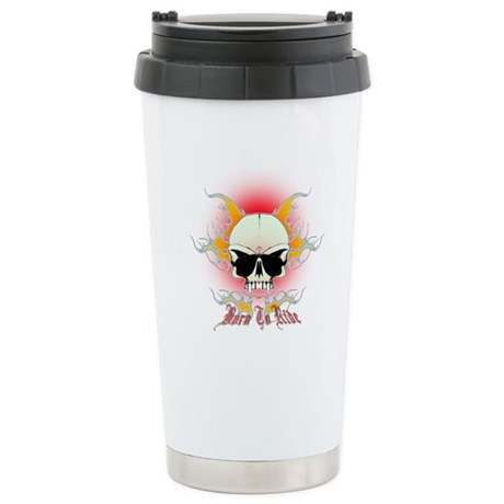 bmx,flaming skull Stainless Steel Travel Mug