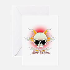 bmx,flaming skull Greeting Card