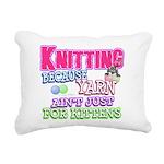Knitting Kitten Rectangular Canvas Pillow