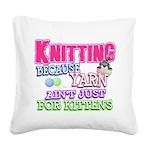 Knitting Kitten Square Canvas Pillow