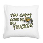 No Fear Trucker Square Canvas Pillow