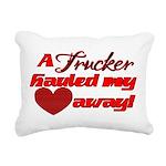 Trucker Hauled My Heart Rectangular Canvas Pillow