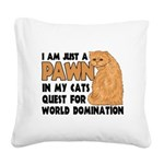 Cat's World Domination Square Canvas Pillow