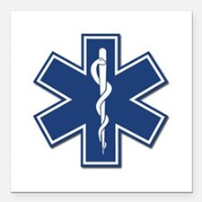"""EMS EMT Rescue Logo Square Car Magnet 3"""" x 3&"""