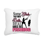 Real Girls Go Fishing Rectangular Canvas Pillow