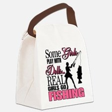 Real Girls Go Fishing Canvas Lunch Bag