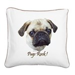 Pugs Rock Square Canvas Pillow