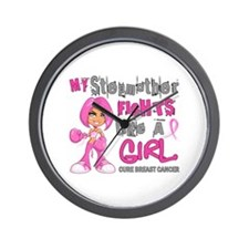 Fights Like a Girl 42.9 Breast Cancer Wall Clock