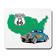 Route 66 With blue Hot Rod Mousepad