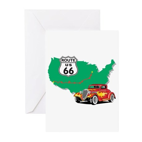 Route 66 With Red Hot Rod Greeting Cards (Pk of 20