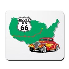Route 66 With Red Hot Rod Mousepad