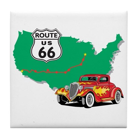 Route 66 With Red Hot Rod Tile Coaster