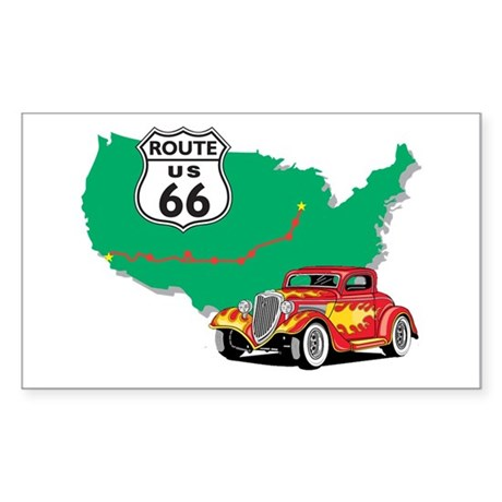 Route 66 With Red Hot Rod Sticker (Rectangle)