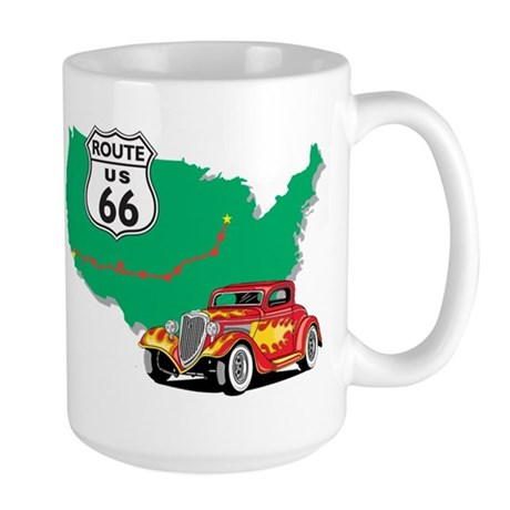 Route 66 With Red Hot Rod Large Mug