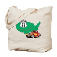 Route 66 With Red Hot Rod Tote Bag