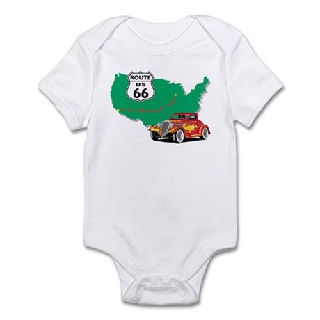Route 66 With Red Hot Rod Infant Bodysuit
