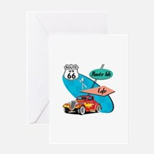 Red Hot Rod Route 66 Diner Greeting Card