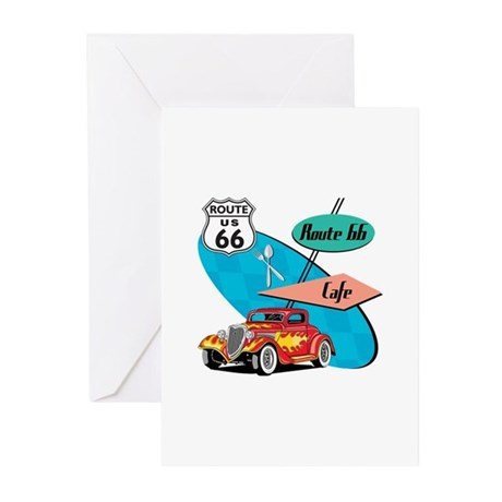 Red Hot Rod Route 66 Diner Greeting Cards (Pk of 1