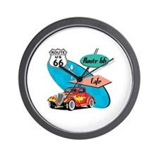 Red Hot Rod Route 66 Diner Wall Clock