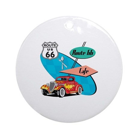 Red Hot Rod Route 66 Diner Ornament (Round)