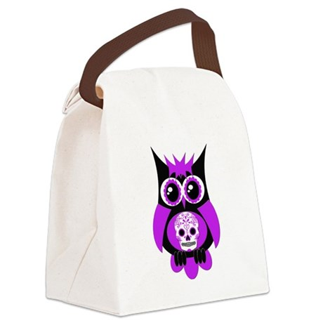 Purple Sugar Skull Owl.png Canvas Lunch Bag