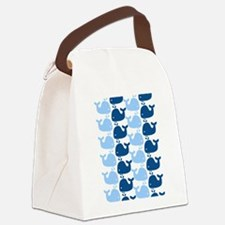 Whale Silhouette Print Canvas Lunch Bag
