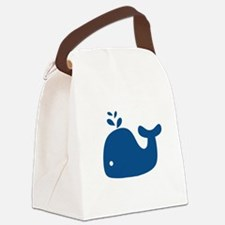 Navy Blue Silhouette Whale Canvas Lunch Bag