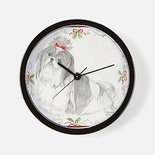 Shih Tzu Christmas SP Gray & White Wall Clock