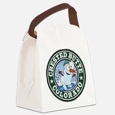 Crested Butte Snowman Circle Canvas Lunch Bag