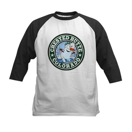 Crested Butte Snowman Circle Kids Baseball Jersey