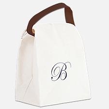 Edwardian Script-B Navy.png Canvas Lunch Bag