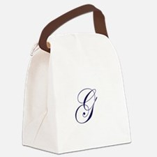 Edwardian Script-G Navy.png Canvas Lunch Bag