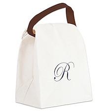 Edwardian Script-R Navy.png Canvas Lunch Bag