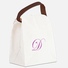Edwardian Script-D Pink.png Canvas Lunch Bag