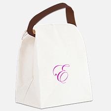 Edwardian Script-E Pink.png Canvas Lunch Bag