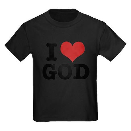 I LOVE GOD Kids Dark T-Shirt