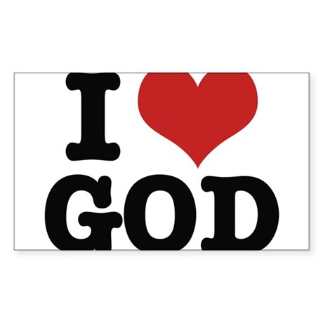 I LOVE GOD Sticker (Rectangle)