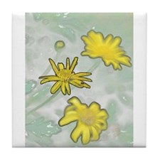 Yellow Flowers in a Garden Tile Coaster