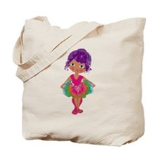 Ballerina in Pink and Green Tutu Tote Bag