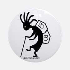 Kokopelli Backpacker Ornament (Round)
