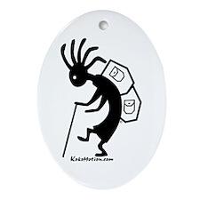 Kokopelli Backpacker Oval Ornament