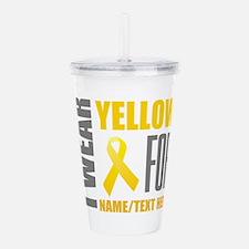 Yellow Awareness Ribbo Acrylic Double-wall Tumbler