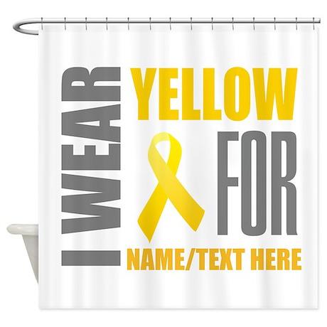 yellow awareness ribbon customized shower curtain