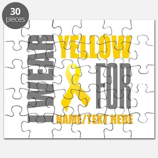 Yellow Awareness Ribbon Customized Puzzle