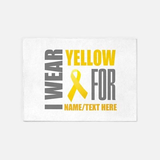Yellow Awareness Ribbon Customized 5'x7'Area Rug