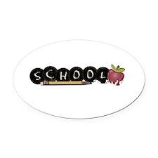School apple Oval Car Magnet